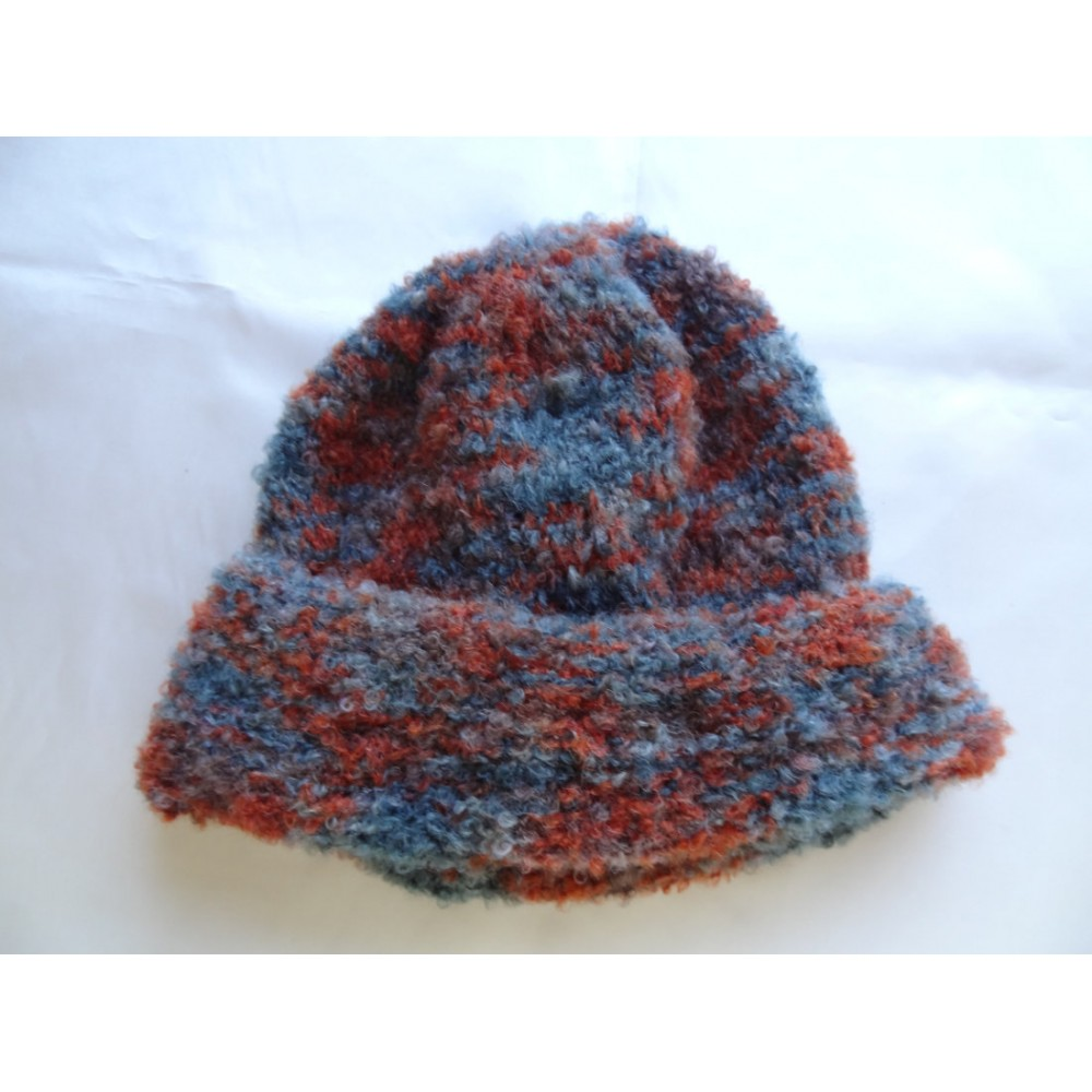 Alpaca Hat - Bouclé Brick Red and Slate Blue (Adult)