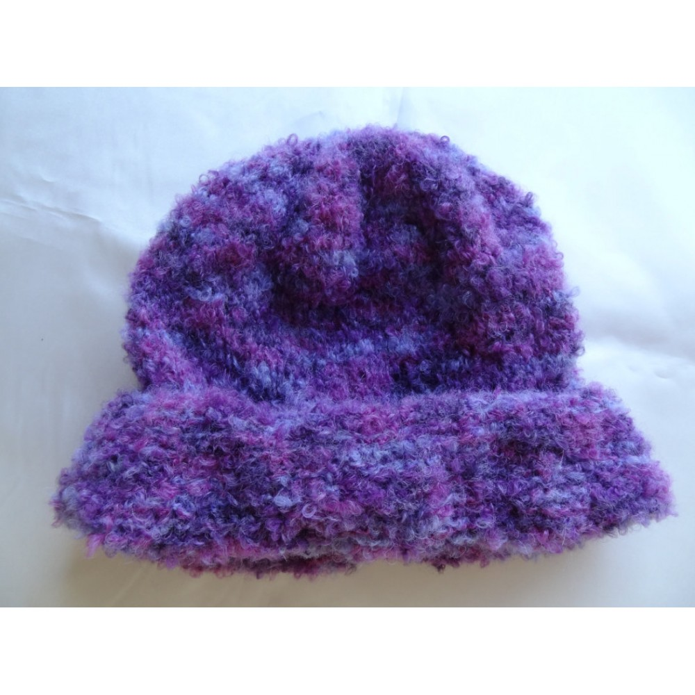 Alpaca Hat - Bouclé Lavender and Purple (Child 4-10)