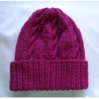 Alpaca Cable Hat With Turned-Up Ribbing - Berry (Adult)