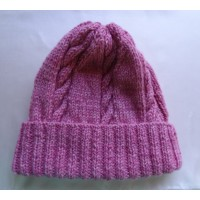 Alpaca Cable Hat With Turned-Up Ribbing - Bright Pink (Adult)