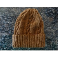 Alpaca Cable Hat With Turned-Up Ribbing - Chestnut Medium (Ladies)