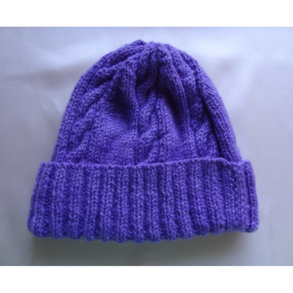 Alpaca Cable Hat With Turned-Up Ribbing - Darker Purple (Children and Toddlers)