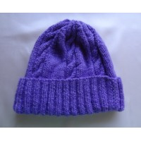 Alpaca Cable Hat With Turned-Up Ribbing - Darker Purple (Adult)