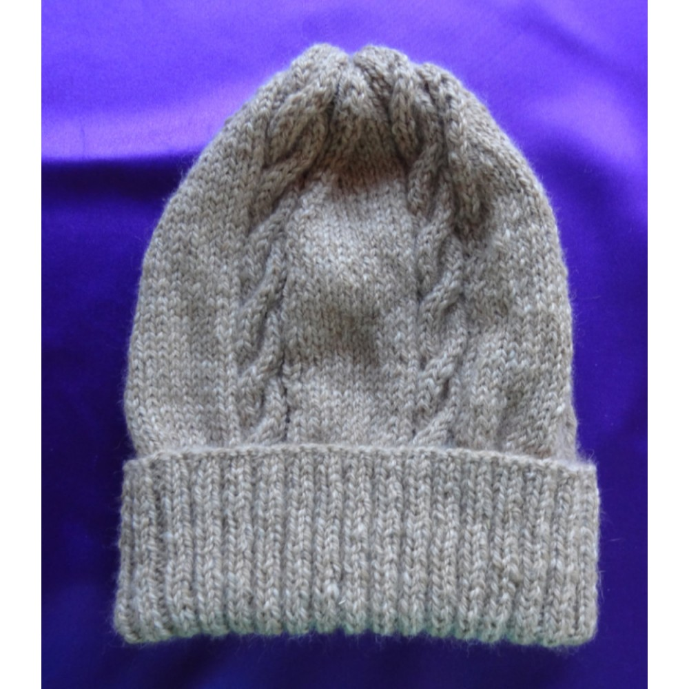 Alpaca Cable Hat With Turned-Up Ribbing - Natural Fawn (Children and Toddlers)