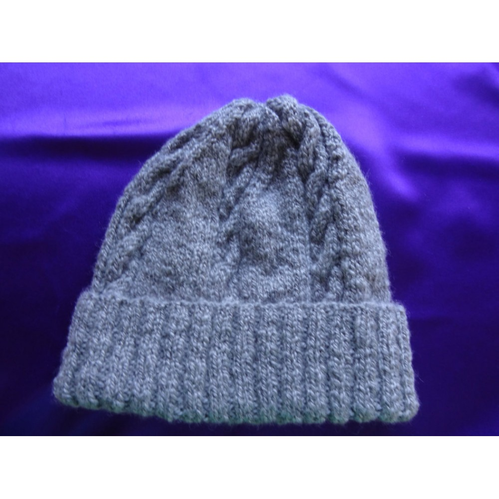 Alpaca Cable Hat With Turned-Up Ribbing - Grey Large (Men)