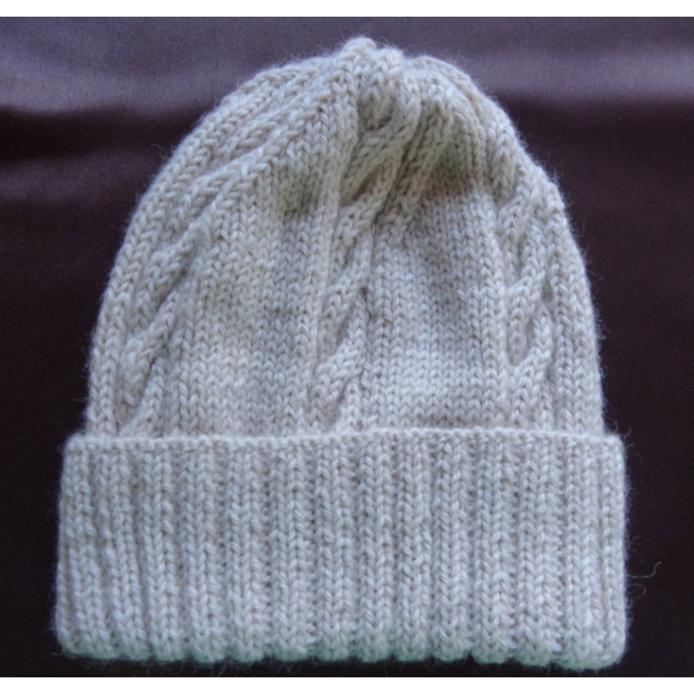 Alpaca Cable Hat With Turned-Up Ribbing - Natural Light Fawn (Children and Toddlers)