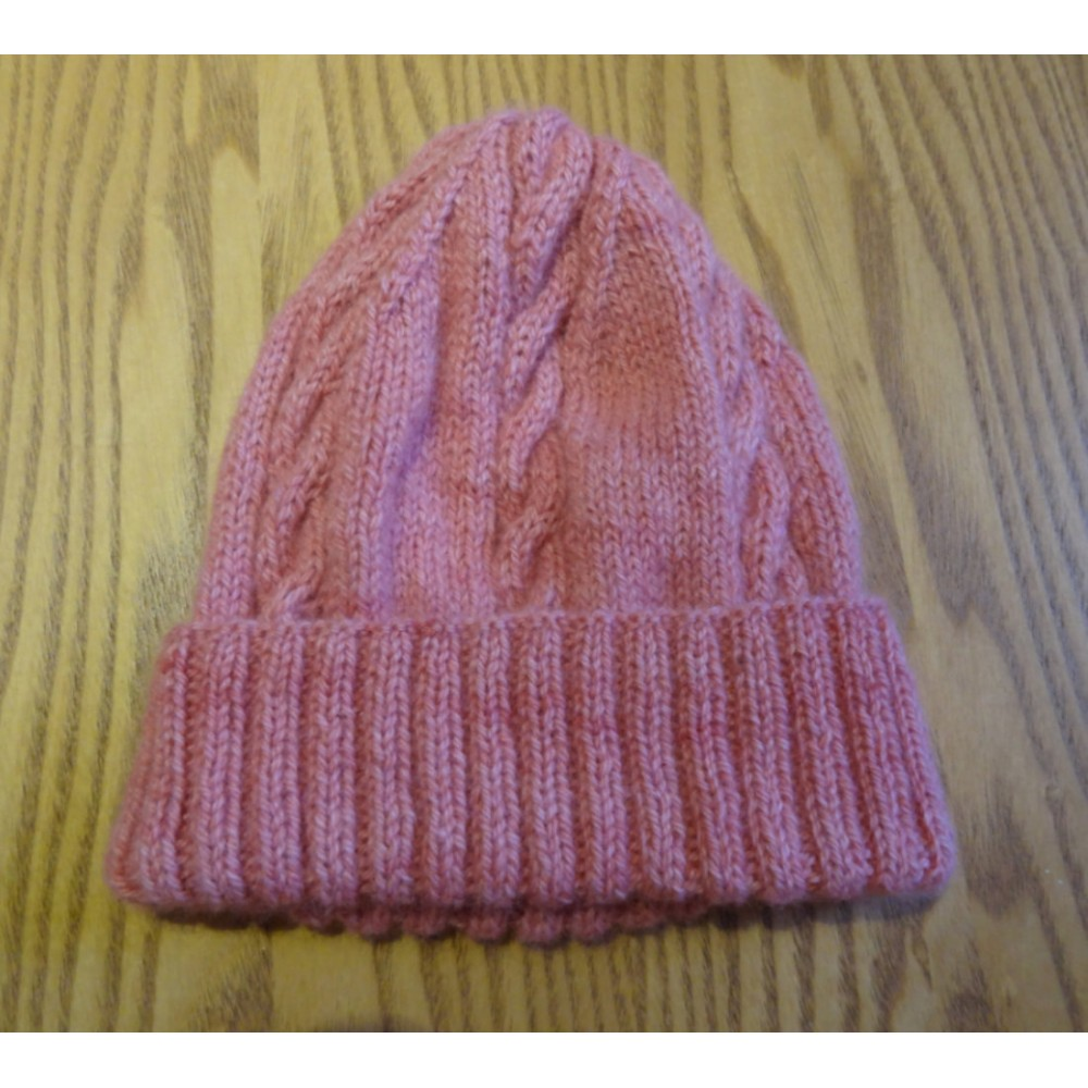 Alpaca Cable Hat With Turned-Up Ribbing - Pale Pink (Adult)