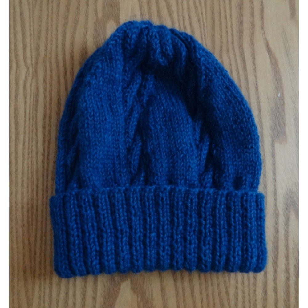 Alpaca Cable Hat With Turned-Up Ribbing - Peacock (Adult)