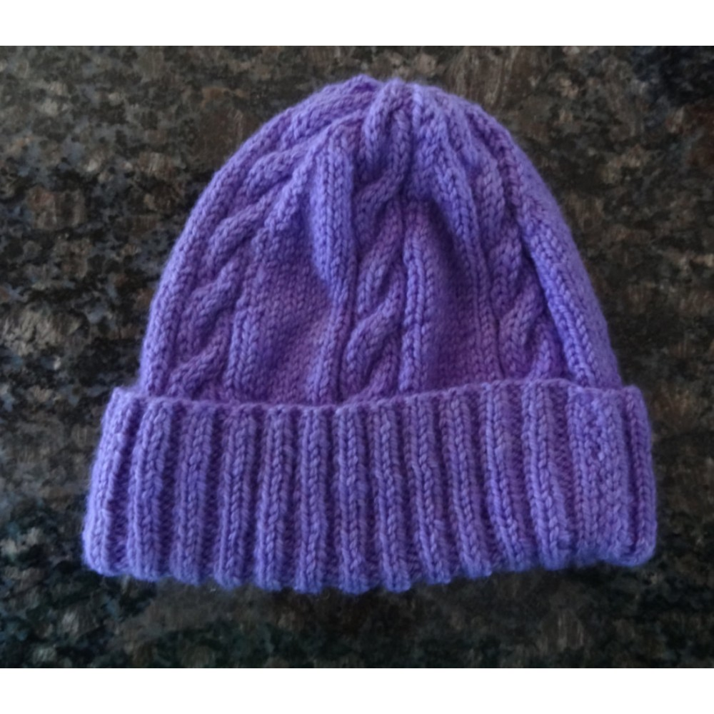 Alpaca Cable Hat With Turned-Up Ribbing - Purple (Adult)