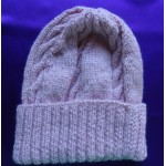 Alpaca Cable Hat With Turned-Up Ribbing - Soft Pink (Adult)