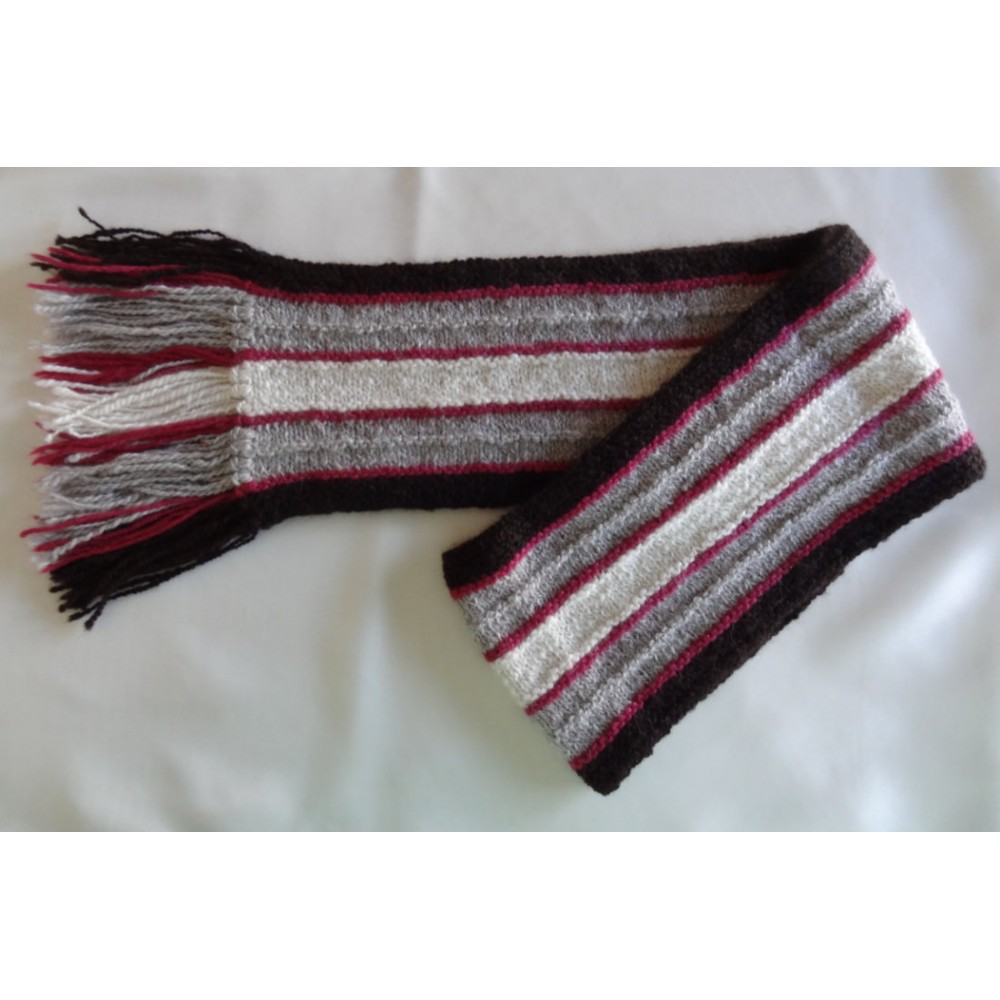 Alpaca Scarf - Natural Colours with Berry