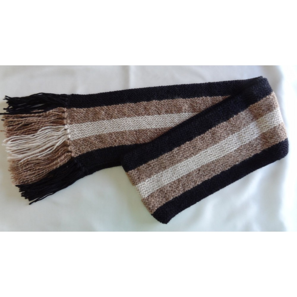 Alpaca Scarf - Natural Colours of Black, Fawn and White