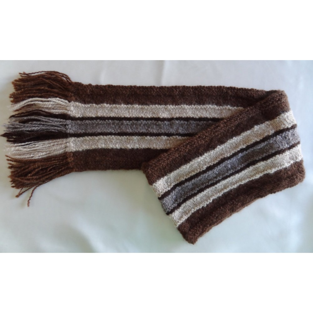 Alpaca Scarf - Natural Colours of Brown, White and Grey