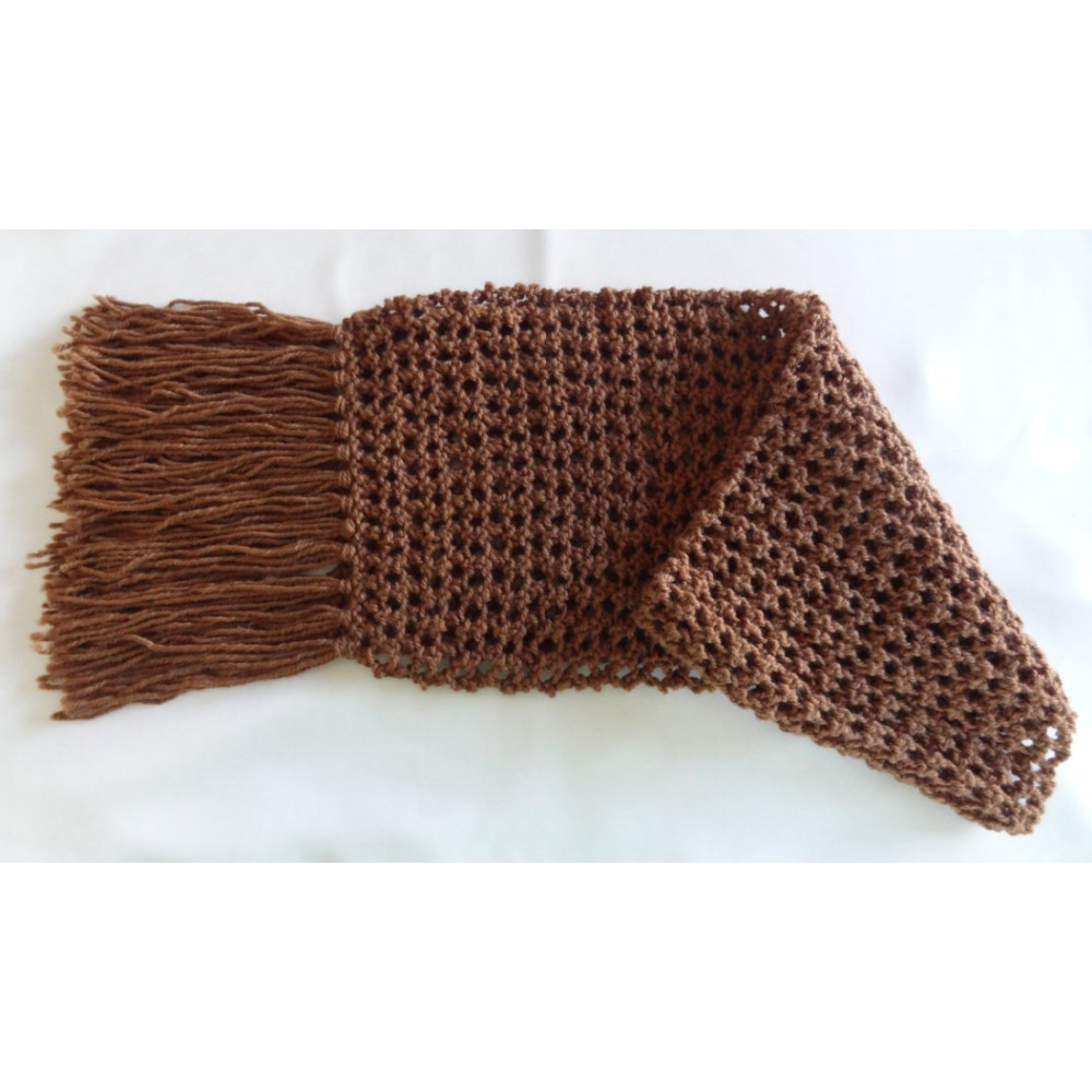 Alpaca Scarf - Natural Chestnut in Lacey Pattern