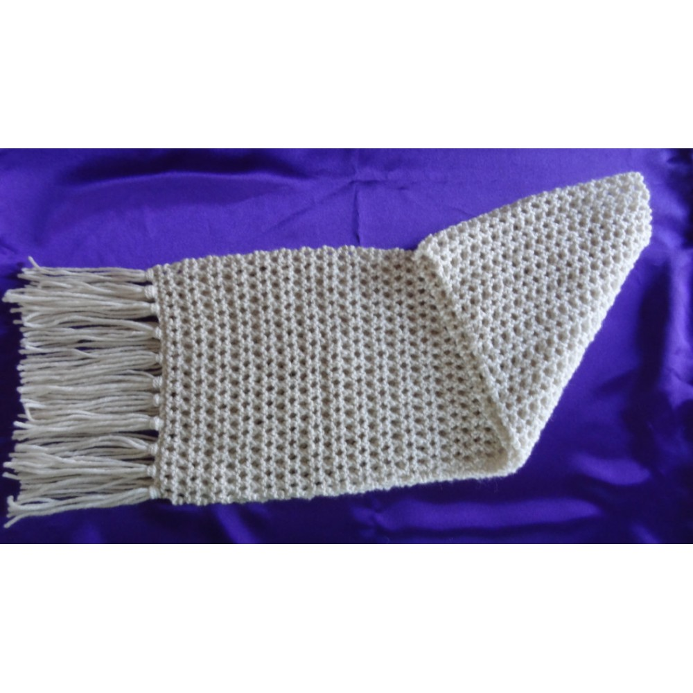 Alpaca Scarf - Natural White in Lacey Pattern